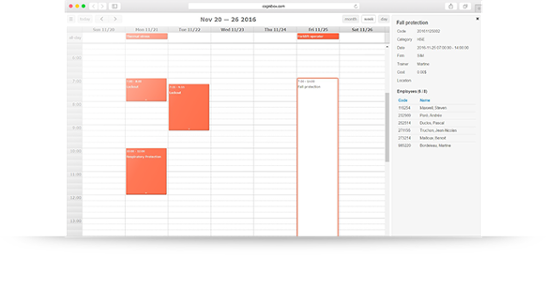 Smart training activity calendar